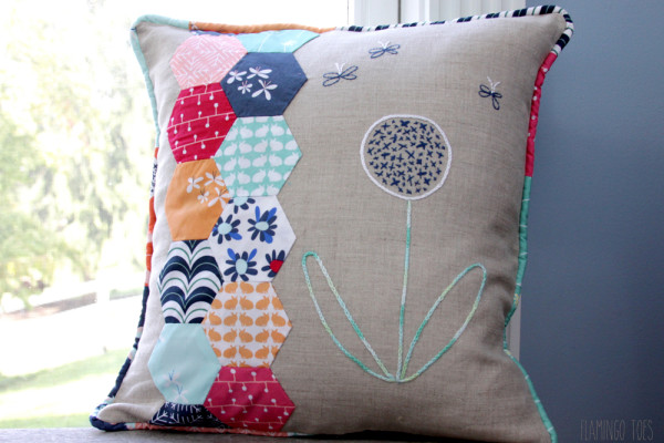 Flower and Hexagon Pillow