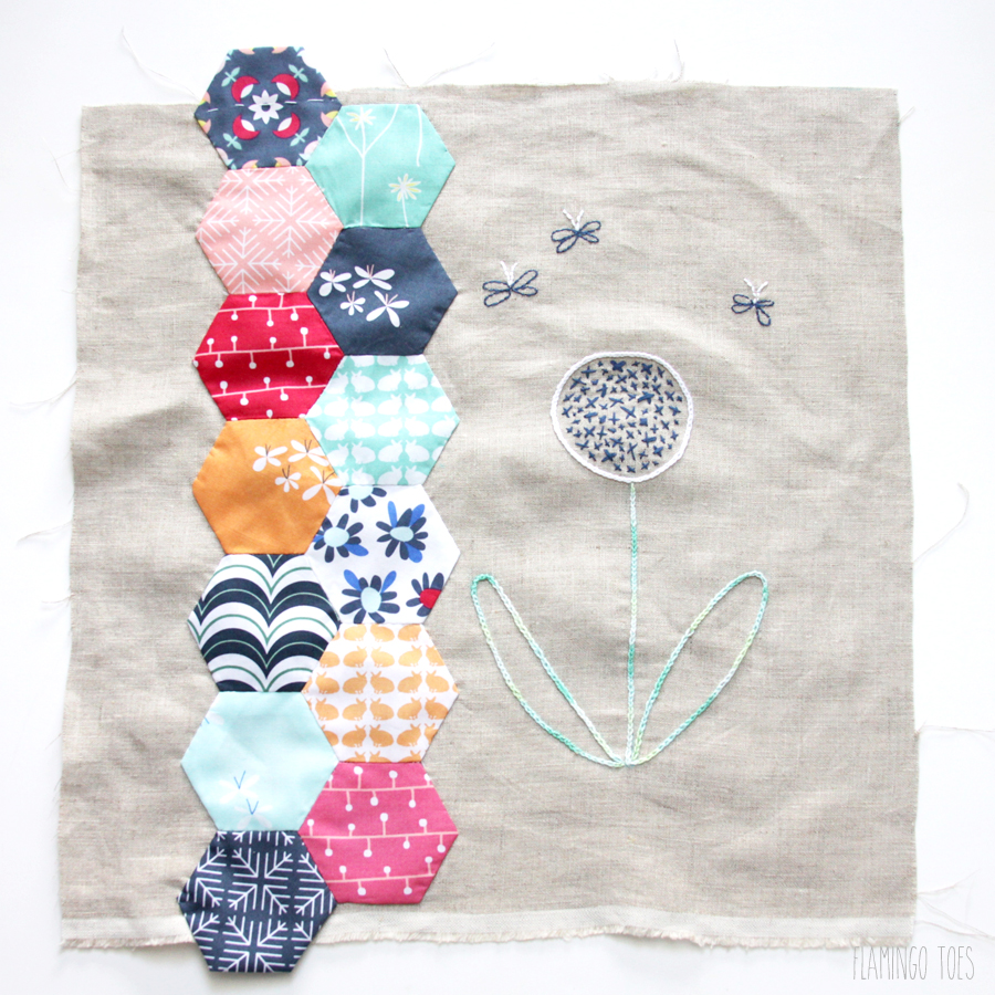 Sewing Hexagons to Pillow