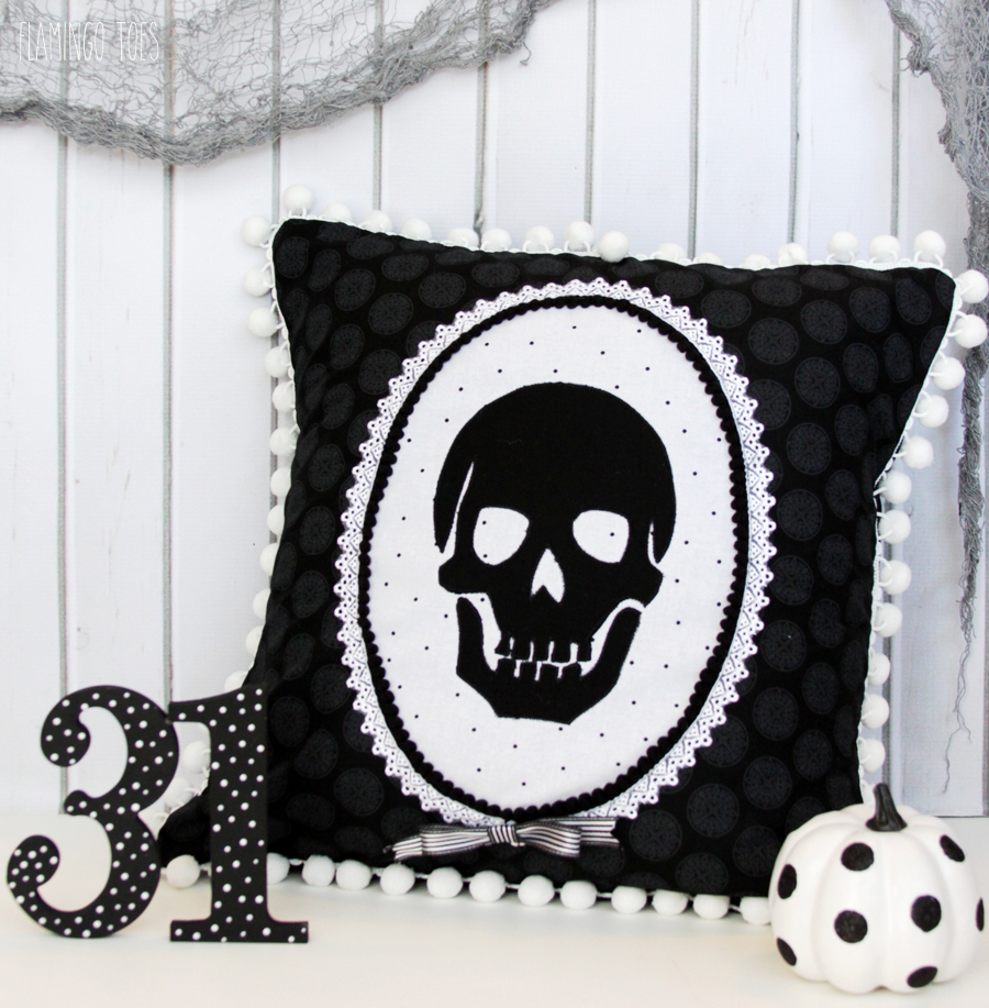 Black and White Skeleton Pillow
