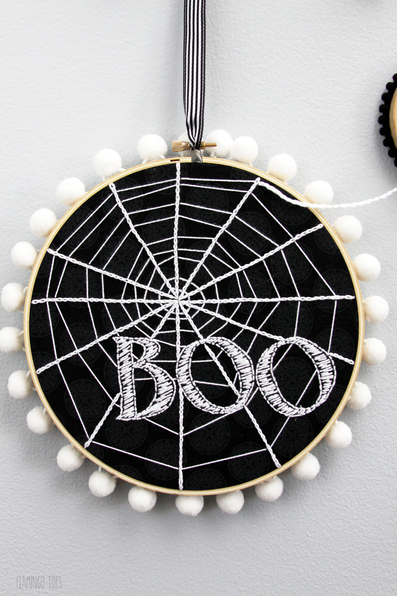 Boo Spiderweb Hoop Art