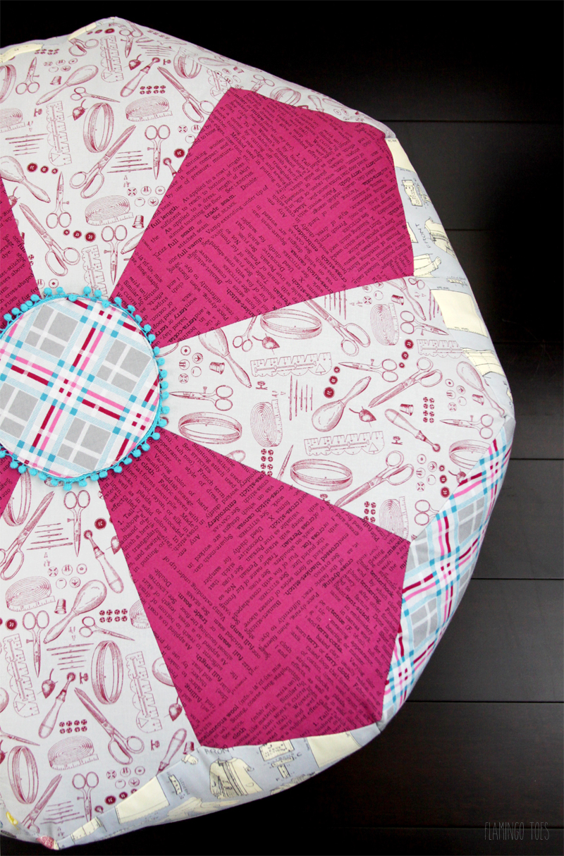 Large Dresden Fabric Pouf