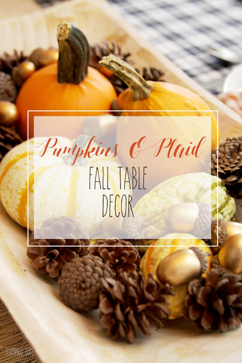 Pumpkins and Plaid Fall Table Decor