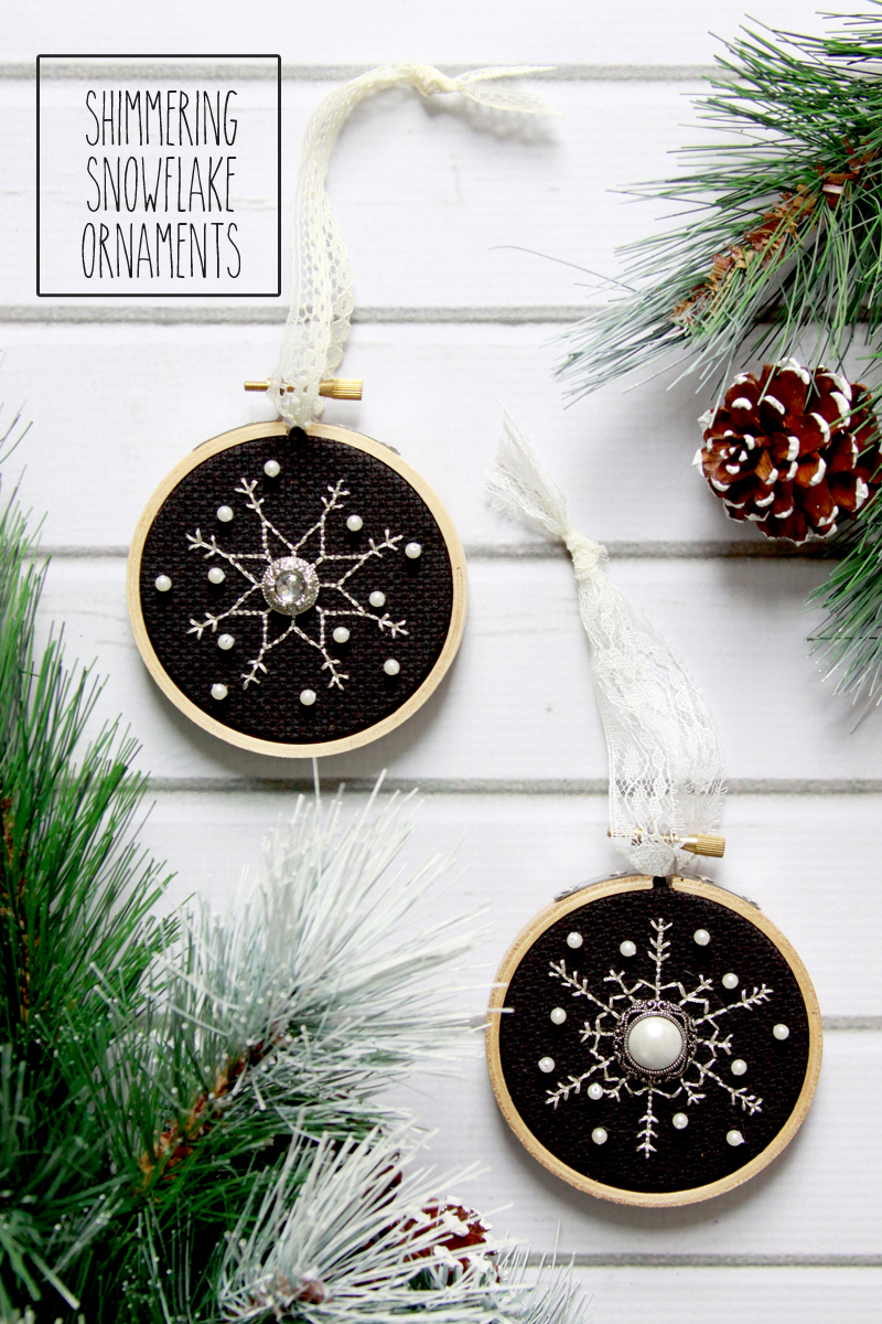 Shimmering Snowflake Cross Stitch Ornaments | Fabulous and Fun DIY Christmas Ornaments by popular Tennessee craft blog, Flamingo Toes: image of a snowflake hoop ornament.