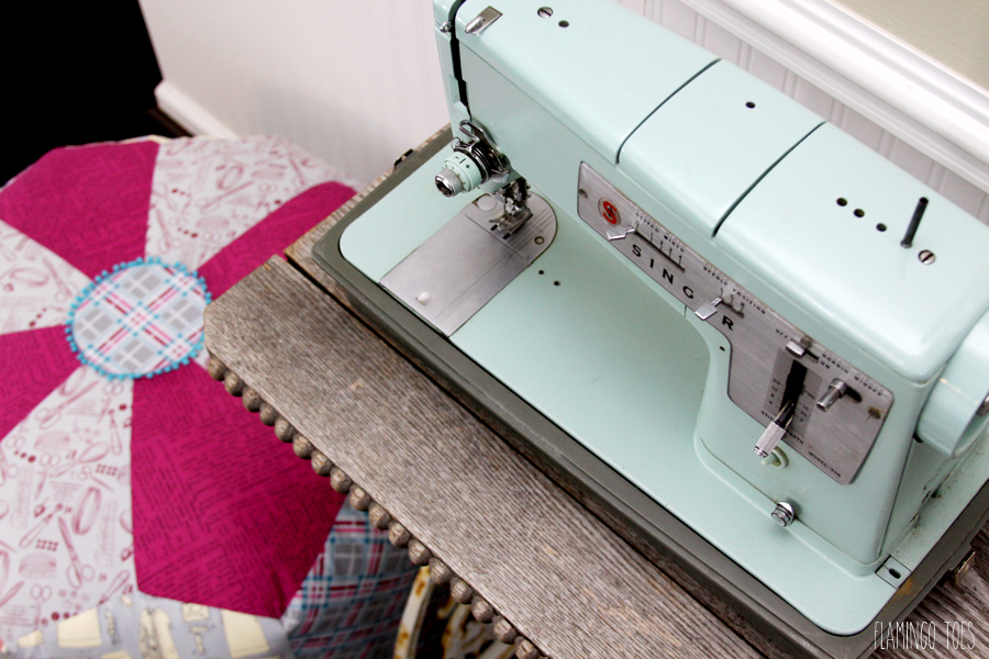 Vintage Sewing Machine and Pouf