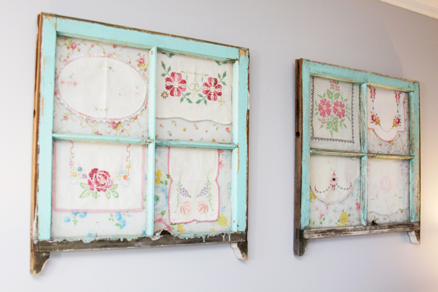 Antique Windows with Vintage Linens