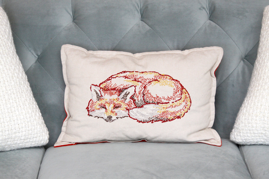 Embroidered Fox Pillow