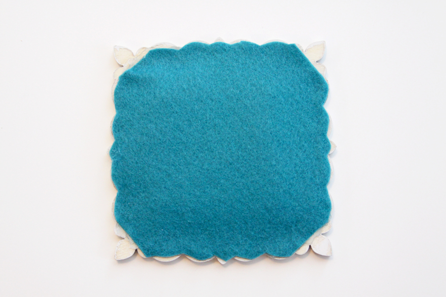 Felt backing on coaster