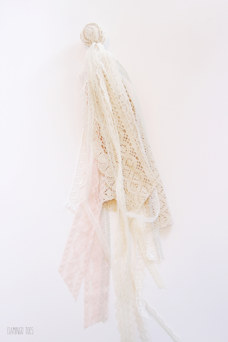 Lace strips tied around Foam ball