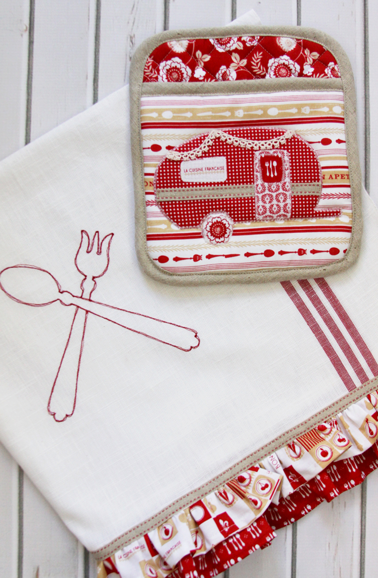 Red and White Kitchen Set