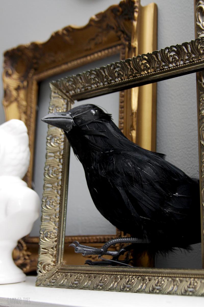 Spooky Halloween Crows on Mantel