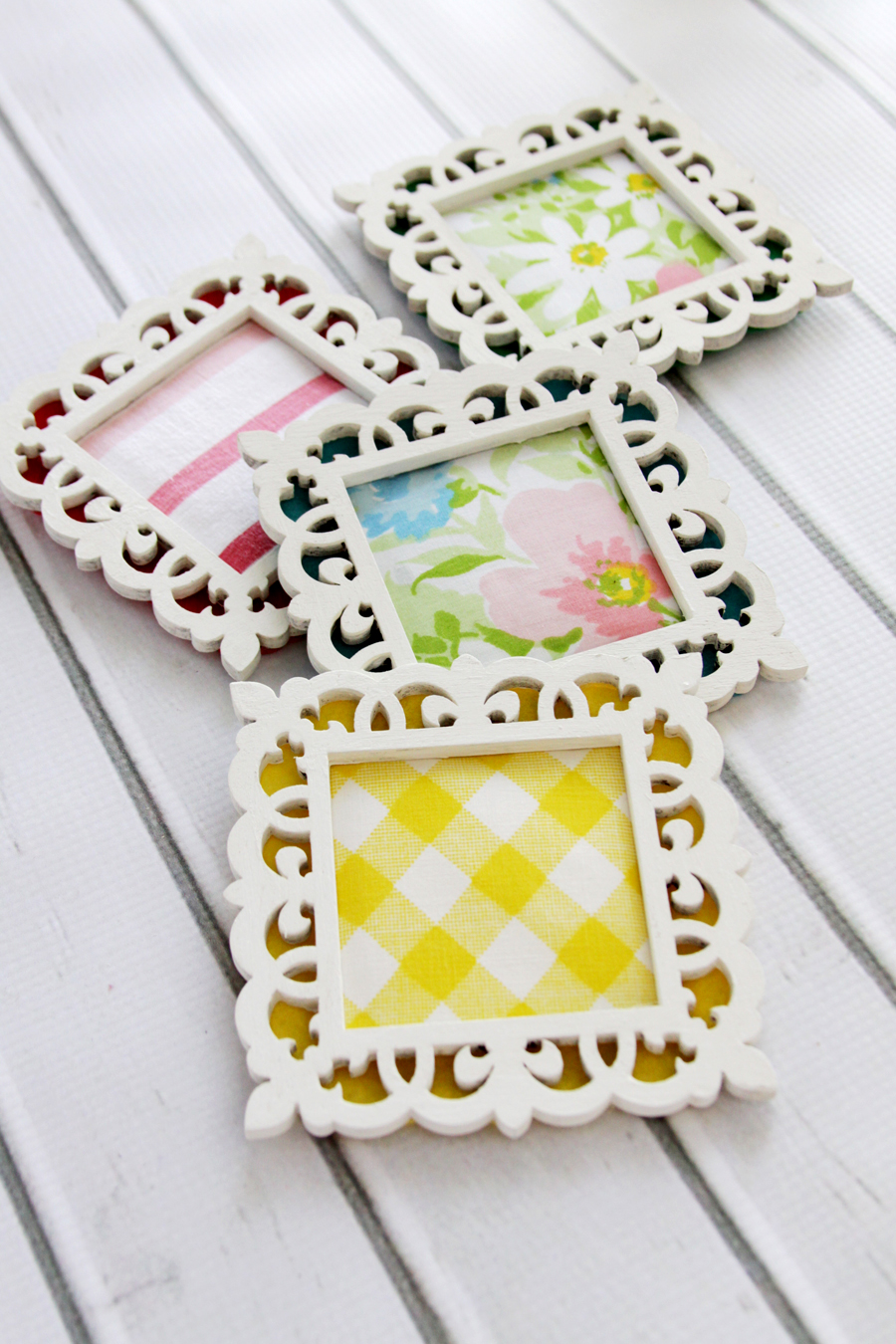 Wood frame and fabric coasters