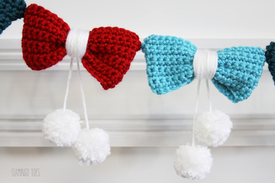 Crochet Bow and Pom Pom Garland