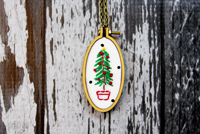 Embroidered Christmas Tree Necklace