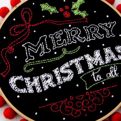 Merry Christmas Chalk Hoop Art