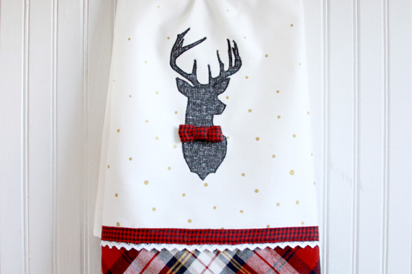 Plaid and Polkadot Deer Dish towel