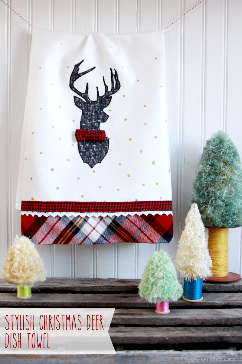 Stylish Christmas Deer Dish Towel