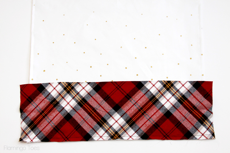 sew plaid border to dishtowel