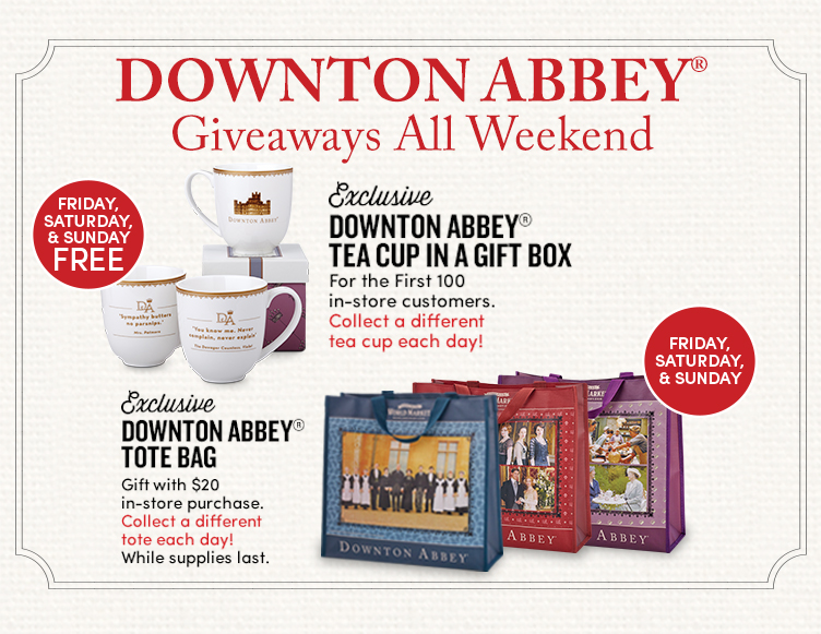 Amazing Downton Abbey and Cost Plus World Market Cups and Bags
