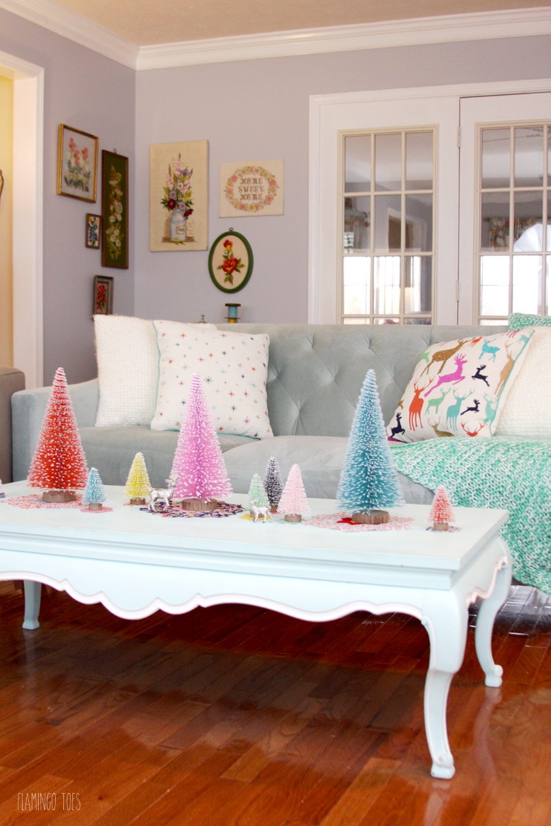 Colorful Christmas Living Room Display