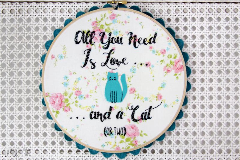 Cute Cat Embroidery Hoop Art