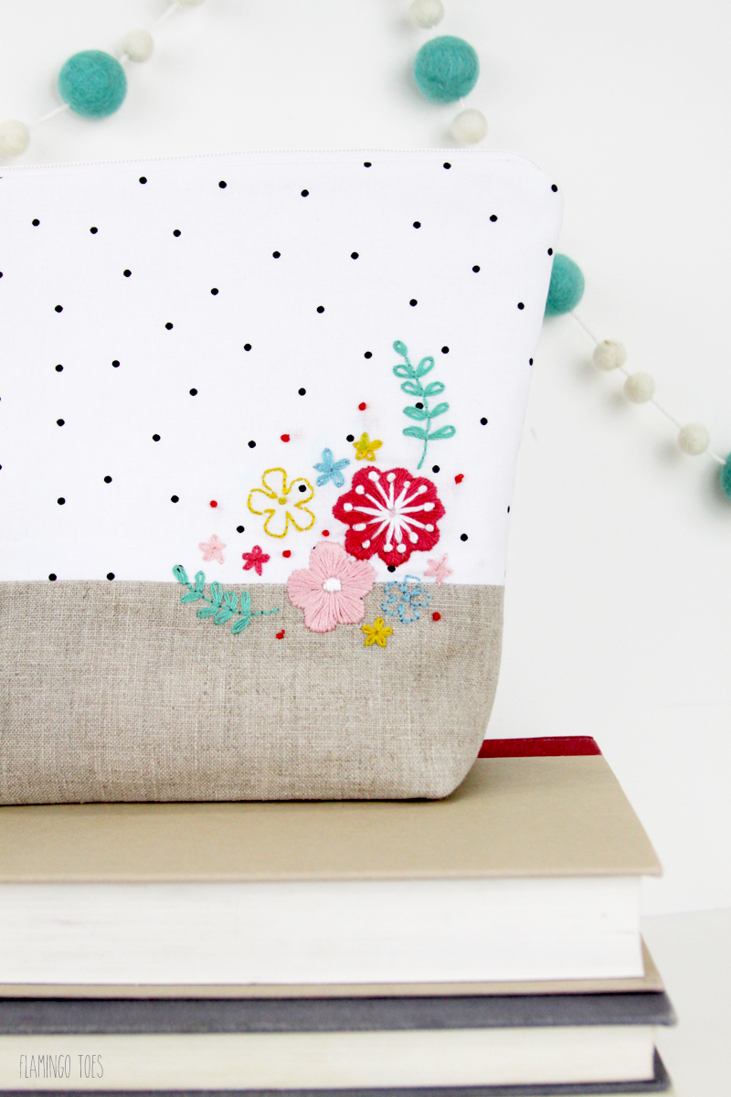 DIY Zipper Pouch with Embroidery