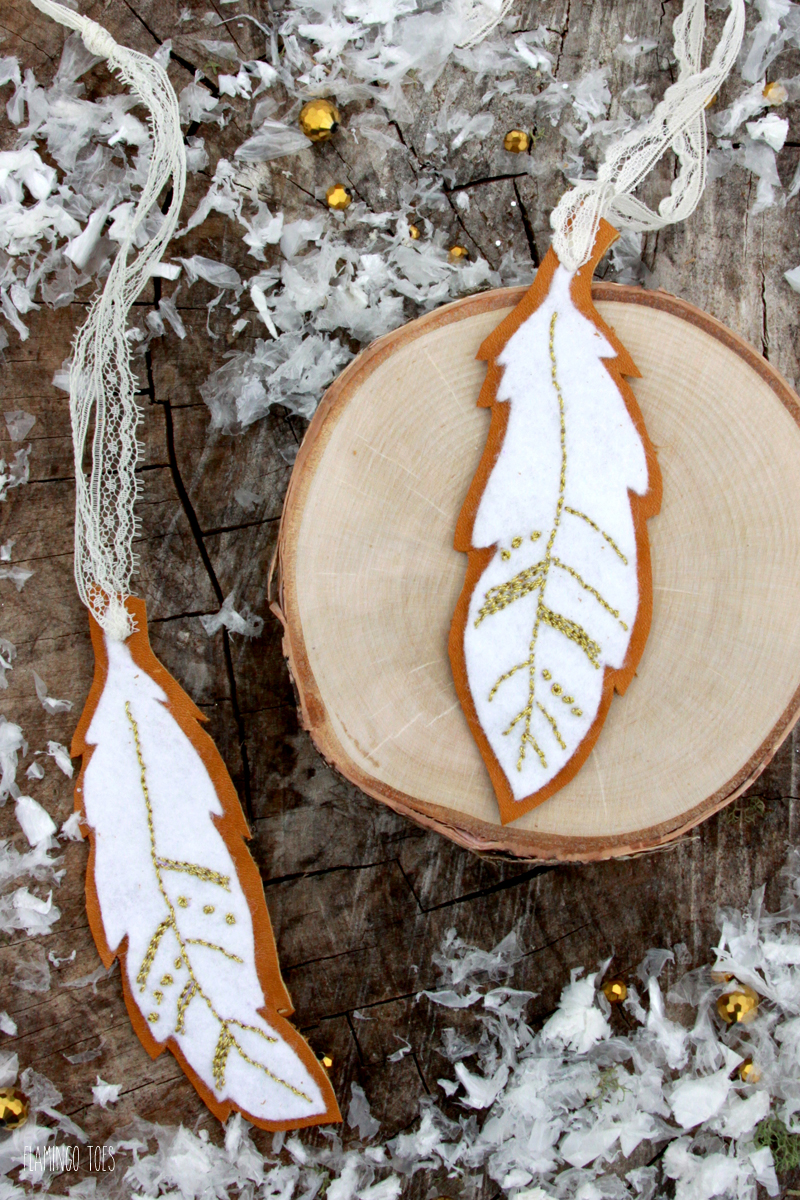 Embroidered Felt Feather Ornaments