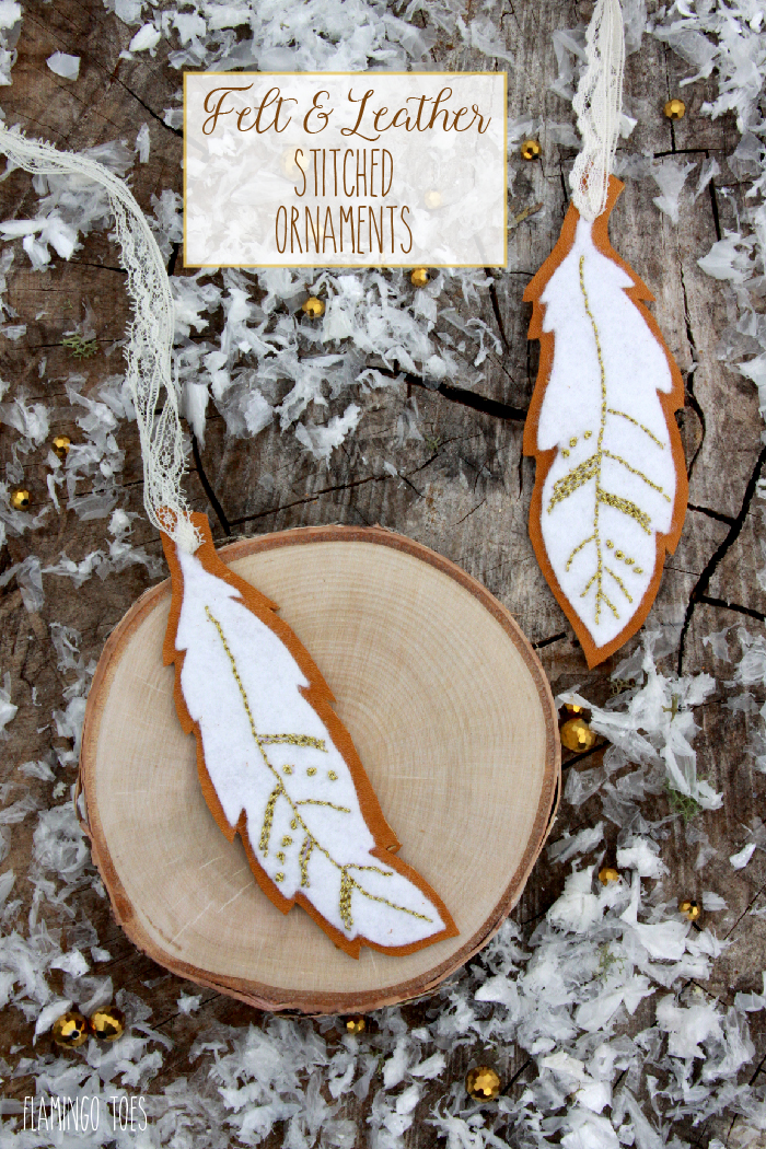 Felt and Leather Stitched Ornaments - Free Pattern-01 | Fabulous and Fun DIY Christmas Ornaments by popular Tennessee craft blog, Flamingo Toes: image of felt and leather ornament.