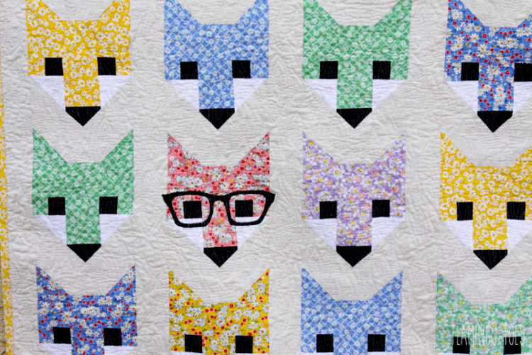 Cute Fox in Glasses Quilt