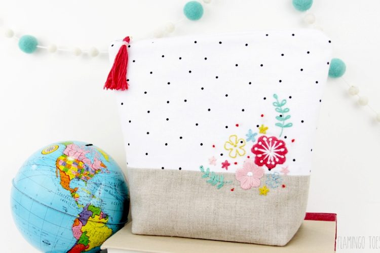 Floral Embroidered Zipper Pouch