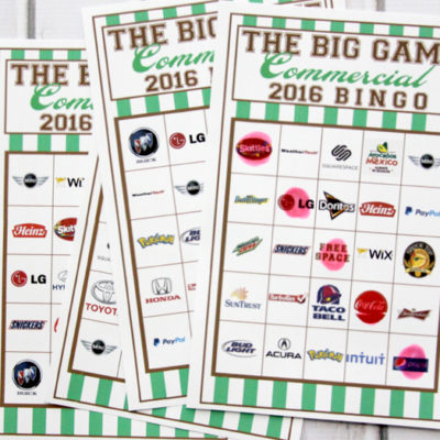 2016 Big Game Commercial Bingo