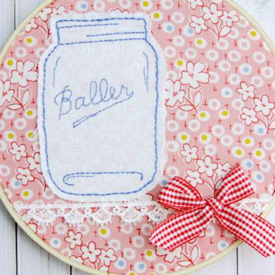 Mason Jar Embroidery Hoop Art