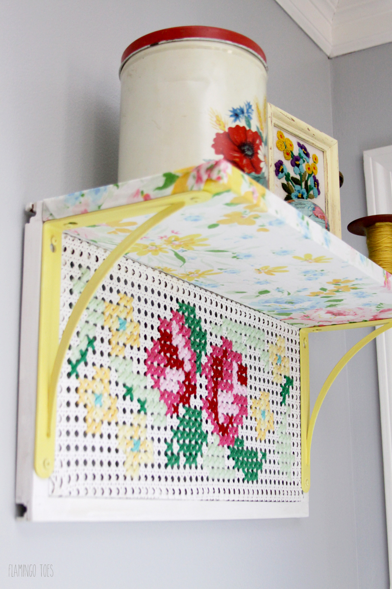 Cross Stitch and Fabric Shelf