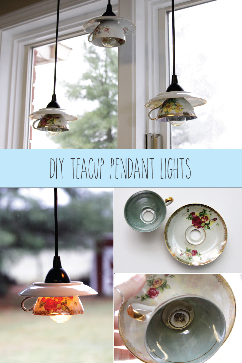DIY Teacup Pendant Lights