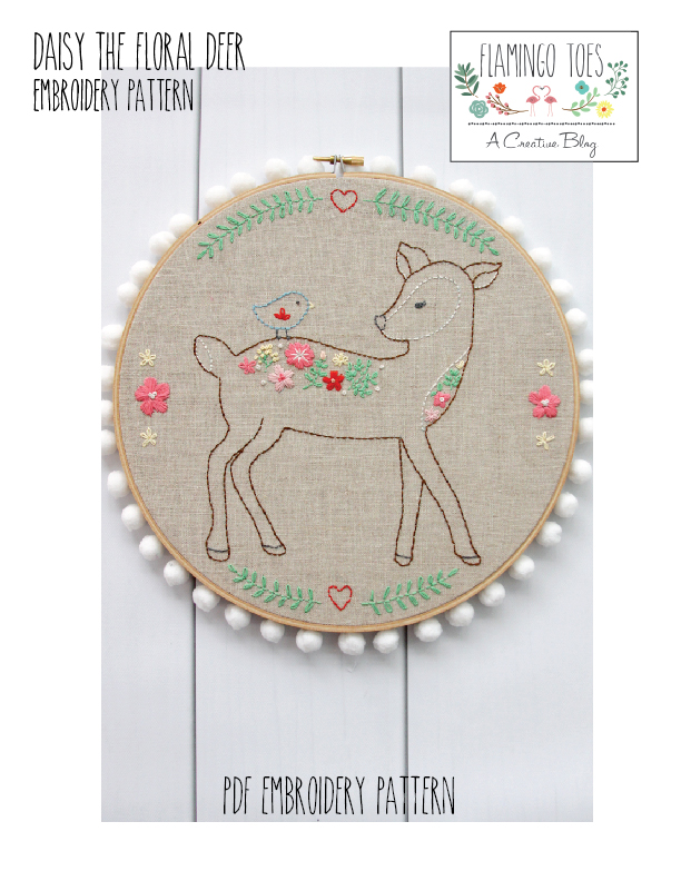Daisy the Floral Deer Embroidery Pattern-01