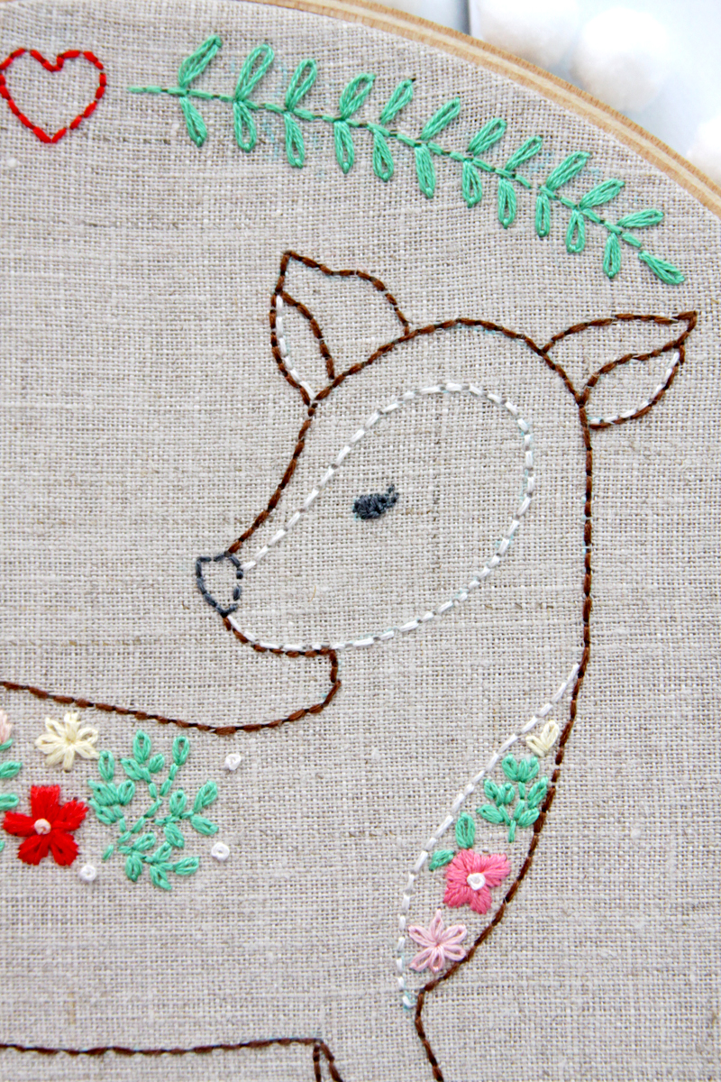 Deer and Flowers Embroidery