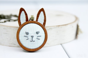 DIY Embroidered Bunny Pendant