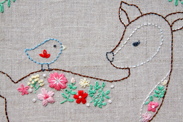 Floral Deer Embroidery Hoop ARt