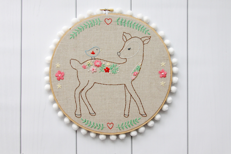 Floral Deer Embroidery Pattern