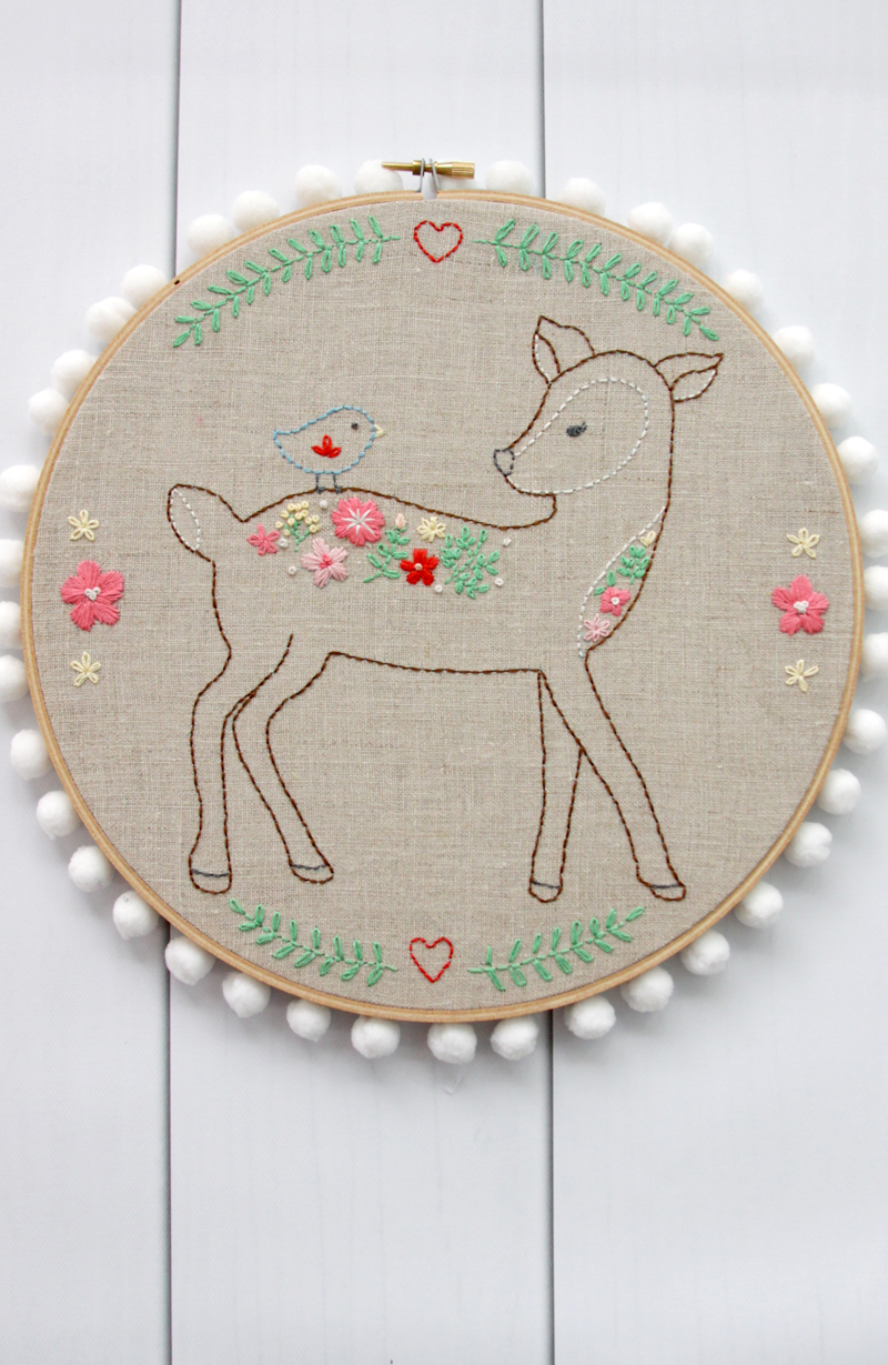 Floral Deer Embroidery