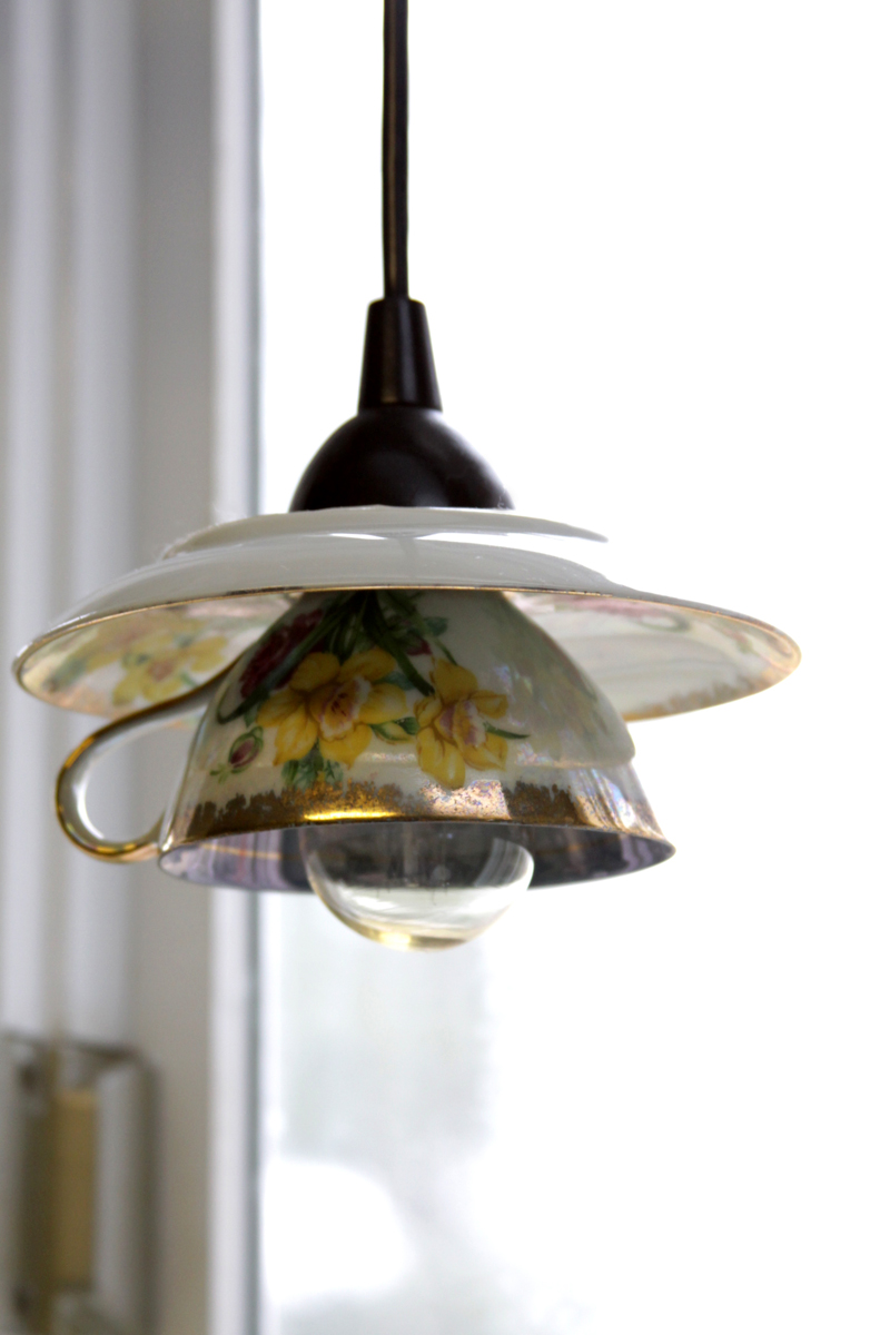 How to make teacup pendant light shades