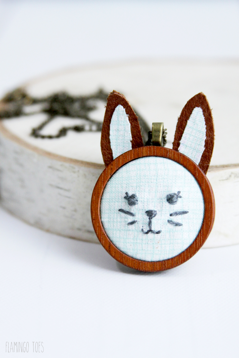 Little Embroidery Bunny Necklace