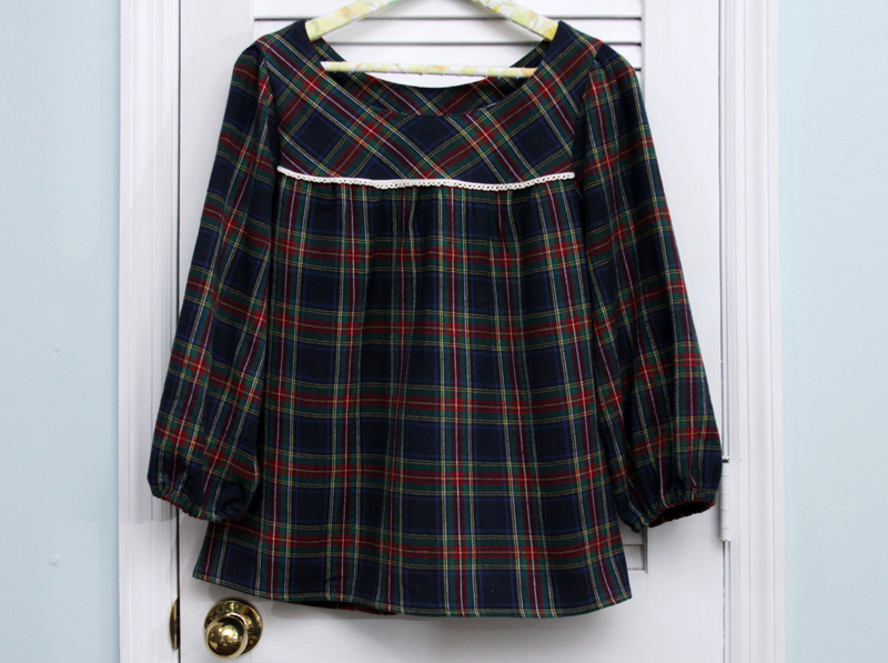 Plaid Flannel Ruby Top with Sleeves