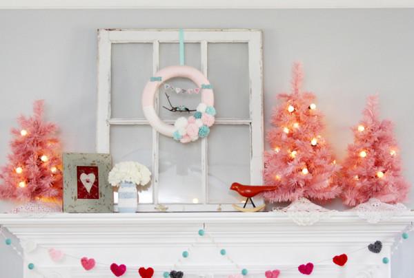 Pretty Pastel Valentine's Day Mantel