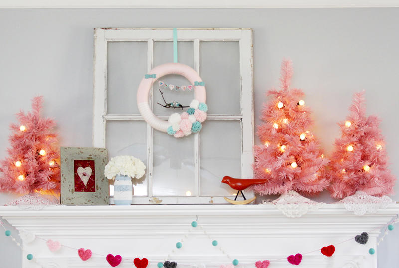 Pretty Pastel Valentine's Day Mantel