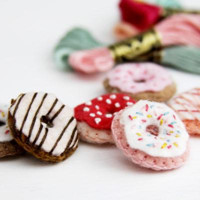 Tiny Felt Embroidered Donuts