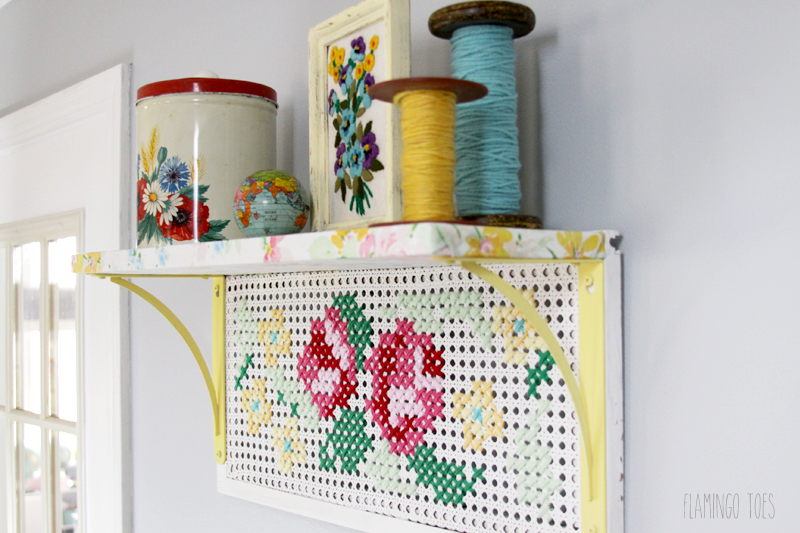 Vintage Fabric and Cross Stitch Shelf