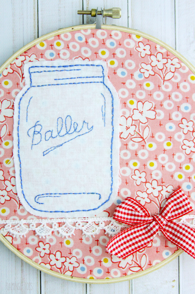 Mason Jar Embroidery Hoop Art