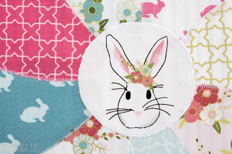 Cute Bunny Pillow Applique