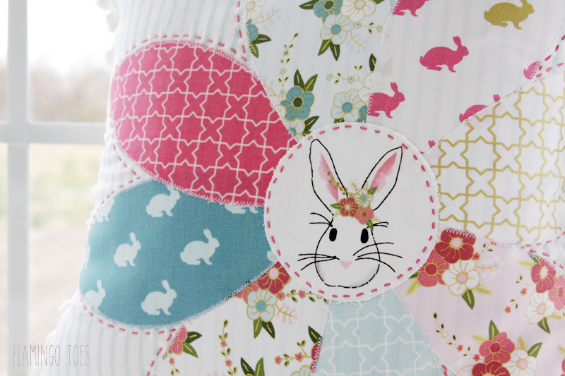 Spring Bunny Applique Pillow