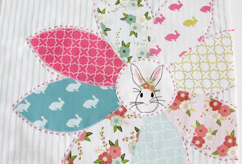 Spring Bunny Pillow with Embroidery
